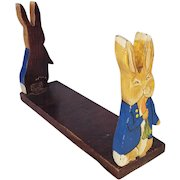Vintage Folk Art Beatrix Potter's Peter Rabbit Folding Book Rack