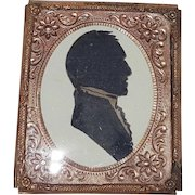 Antique Hand Cut Silhouette of a 19th C. Gentleman in Gilt Tin Frame