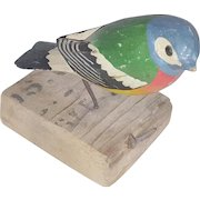 Diminutive Vintage Folk Art Fancifully Painted Bird Carving From My Collection