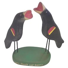 "Pair of Vintage Folk Art Red-Wing Blackbirds ""Thou Shalt Not Gossip"""