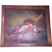 Antique Signed & Dated 1903 Folk Art Still Life Oil Painting of Cornucopia of Fruit