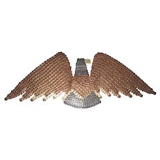 Funky Vintage Folk Art Eagle Wall Plaque Made of 1981 Pennies & Dimes