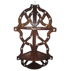 Unique Vintage Folk Art Hanging Scrollwork Corner Shelf With Inlaid Antler
