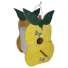 Vintage Primitive Folk Art Pear Design Birdhouse