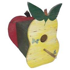 Vintage Primitive Folk Art Pear & Apple Design Birdhouse