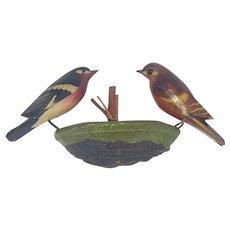 Vintage German Hanging Male & Female Bird Carvings on Tree Fungus