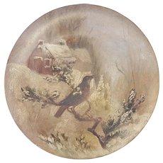 Late 19th C. Folk Art  Wood Plate-Painted Winter Scene of Robin