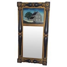 Antique Framed Mirror With Reverse Painting of Narbornne House in Salem c. 1680