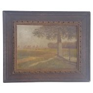 "Antique Early 1900's Signed ""Tommy Kutashima"" Folk Art Pastoral Oil Painting with Grazing Horses"