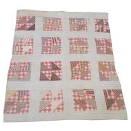 Antique Folk Art Split 4-Patch True Crib Quilt in Great Old Fabrics