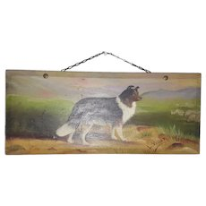 """Early 1900's Signed """"L. Villar"""" Folk Art Painting of Collie & Sheep"""