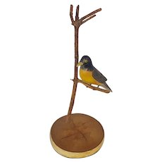 Vintage Folk Art Carved & Painted Robin in Tree From My Collection