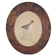 Vintage Folk Art Mixed Media Depiction of American Redstart Bird in Pyrography Frame