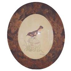 Vintage Folk Art Mixed Media Depiction of American Redstart Bird in Pyrography Frame