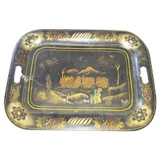 Vintage 1920's Folk Art Railroad Design Stenciled Tray
