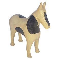 Vintage Naive Folk Art Black & White Horse Carving