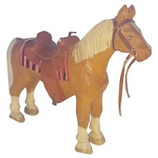 Vintage Tennessee Folk Art Carving of Horse With Saddle