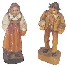 Pair Vintage German Folk Art Carvings- Man w/Pig, Woman w/Hen