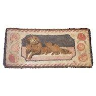 Antique 19th C. Folk Art Frost Pattern Recumbent Dog Hooked Rug