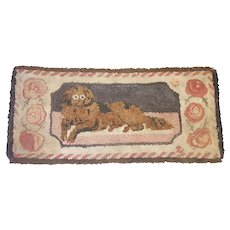 Antique 19th C. Folk Art Frost Pattern Recumbent Dog Hooked Rug