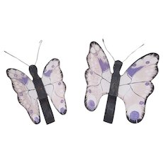 Pair of Vintage Folk Art Purple & Pink Butterflies