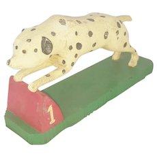 Vintage Signed Folk Art Racing Dalmatian Carving