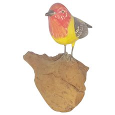 """Vintage Signed """"Al McHenry"""" Folk Art Carving of Western Tanager From My Collection"""