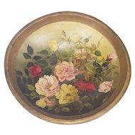 Large Antique Out of Round Wooden Dough Bowl with Painted Roses Design