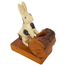 Vintage Folk Art Match or Toothpick Holder with Black & White Bunny
