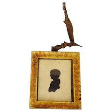 19th C. American Folk Art Hollow-Cut Silhouette of Young Child in Gold Gilt Frame