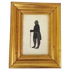 Antique C. 1850 Folk Art Hollow-Cut Silhouette of Man With Walking Stick