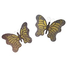 Matched Pair of Vintage Folk Art Yellow, Black & White Wall-Hung Butterflies