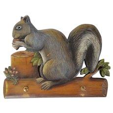 Vintage Folk Art Wood Painted Squirrel Motif Wall Rack