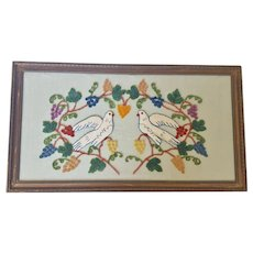 Vintage Folk Art Punchwork Embroidery Picture of Doves & Grapes
