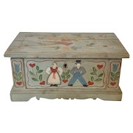 Early 1900's Folk Art Painted Miniature Blanket Chest Trinket Box