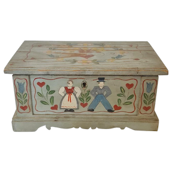 Early 1900's Folk Art Painted Miniature Blanket Chest Trinket Box