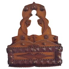 Antique Folk Tramp Art Wall Box -  Acorns, Heart, Crescent Moons, Stars, Cross & Maple Leaves