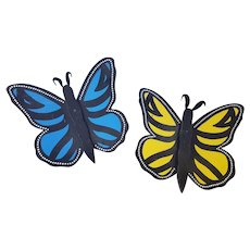 Pair of Vintage Folk Art Butterflies Wall Art - One Blue, One Yellow