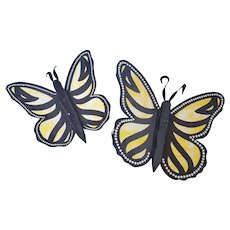 Pair of Vintage Folk Art Yellow, White, and Black Butterflies Wall Art