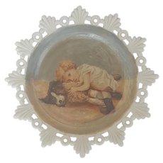 Antique Victorian Folk Art Painting of Child & Dog on Milk Glass Plate
