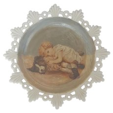 Antique Victorian Folk Art Painting of Child & Dog on Milk Glass Plate