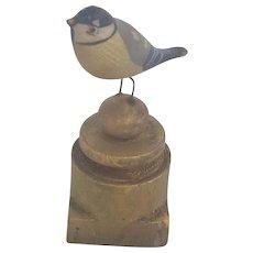 Diminutive Vintage Folk Art Bird Carving on Hand Turned Base
