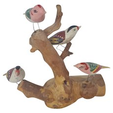 Vintage Folk Art Bird Tree with 4 Fancifully Painted Birds