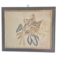 Early 19th C. Sepia & Indigo Pen & Ink Drawing of a Fanciful Bird on a Branch