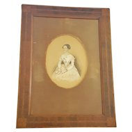 Antique 19th C. Folk Art Portrait of Young Woman Holding Book in Marquetry Frame