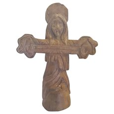 Vintage Primitive Folk Art Cross Form of Christ Holding Holy Scroll - Red Tag Sale Item