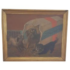 Vintage Signed and Dated 1922 Oil Painting of Three Mischievous Puppies