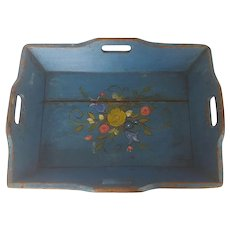 Late 19th C. American Folk Art Blue Painted Tray with Floral Design