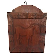 Vintage Primitive Folk Art Wall Box with Carved Horse Design