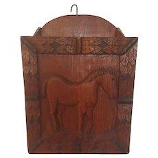 Vintage Primitive Folk Art Wall Box with Carved Horse Design